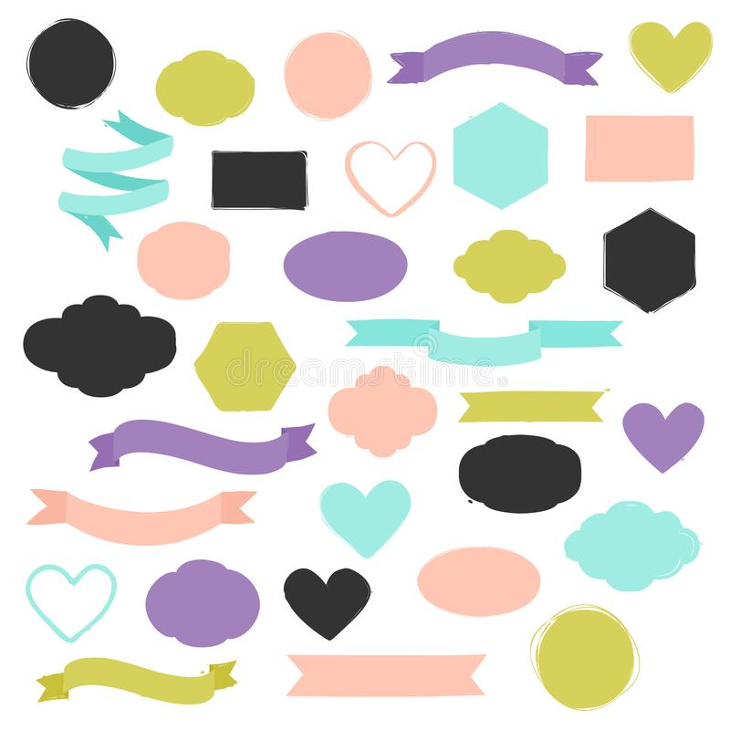 Ensemble de formes tirées par la main dans différentes couleurs Coeurs, bannières, cercles et rubans etc. illustration libre de droits