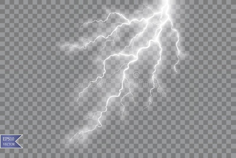 Ensemble de foudres Effets de la lumière magiques et lumineux Illustration de vecteur illustration de vecteur