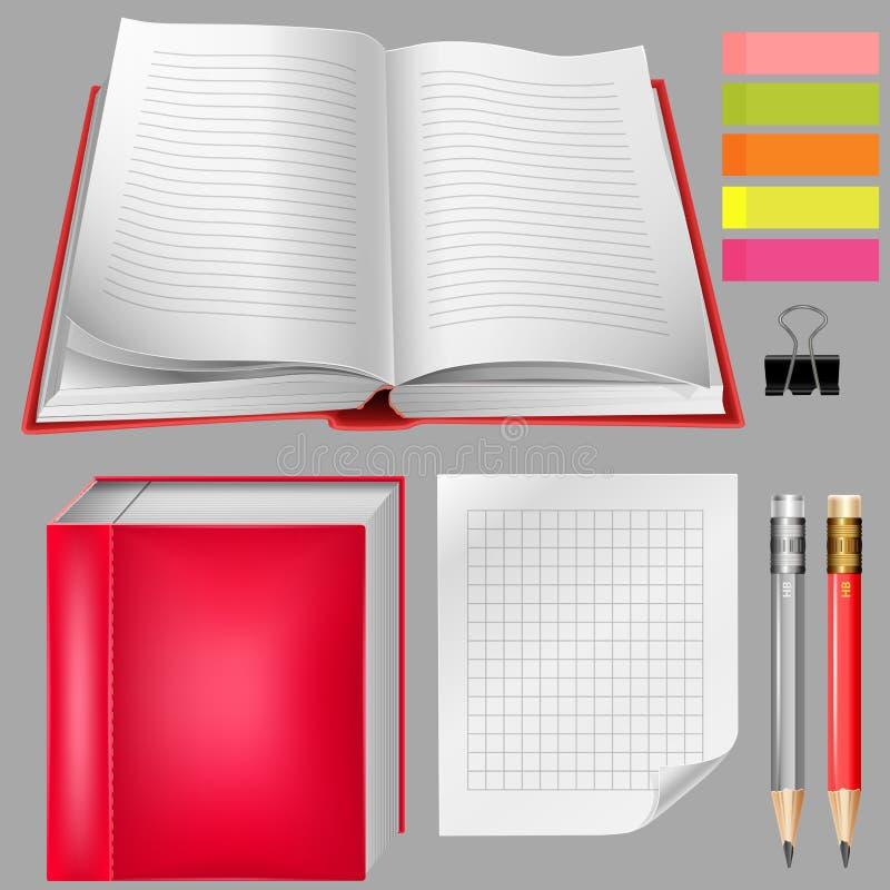 Ensemble de fournitures de bureau : carnets, crayons illustration stock
