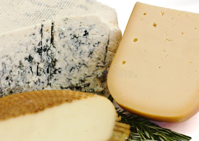 Ensemble de fromage Roquefort avec le moule bleu, le cheddar et le fromage fumé photographie stock libre de droits