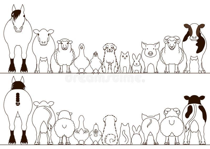 Ensemble de frontière d'animaux de ferme, vue de face et vue arrière illustration stock