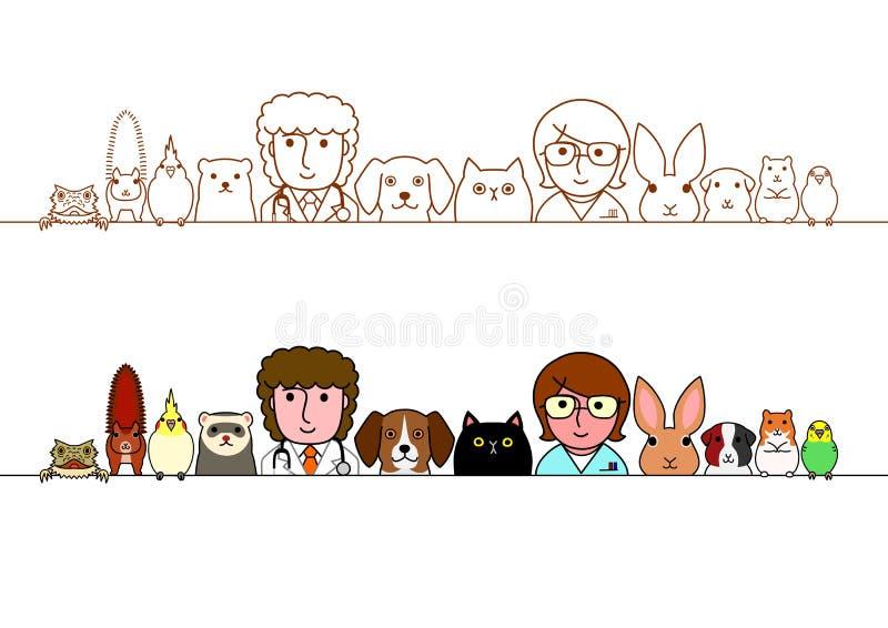 Ensemble de frontière d'animaux de vétérinaires et d'animaux familiers illustration de vecteur