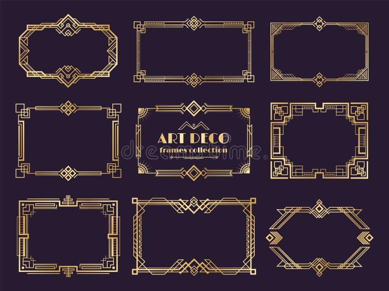 Ensemble de frontières d'art déco Cadres d'or des années 1920, style géométrique de luxe de nouveau, ornement abstrait de cru Art illustration libre de droits
