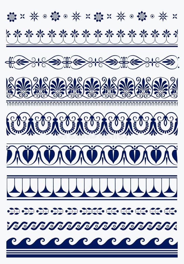 Ensemble de frontières de Grec d'antiquité de vecteur illustration de vecteur