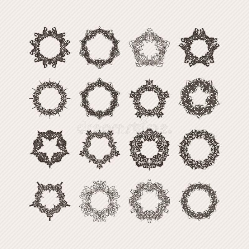 Ensemble de frontières et de cadres fleuris de mandala de vecteur Tatouages gothiques de dentelle Armure celtique avec les coins  illustration stock