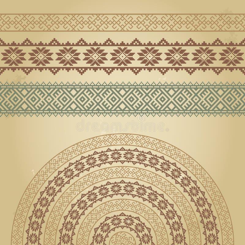 Ensemble de frontières et de demi-circle avec les ornements ethniques nordiques illustration de vecteur