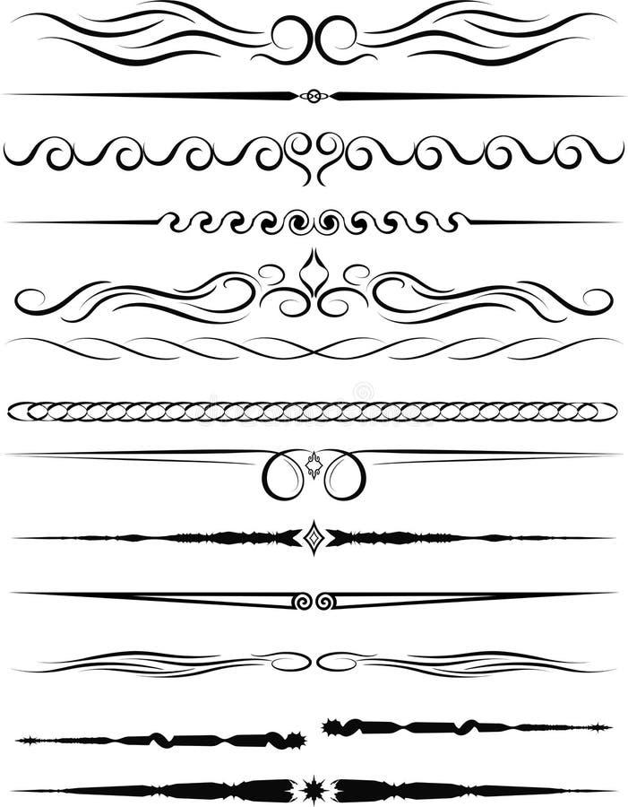 Ensemble de frontières ornementales et de diviseurs de page de vintage illustration de vecteur