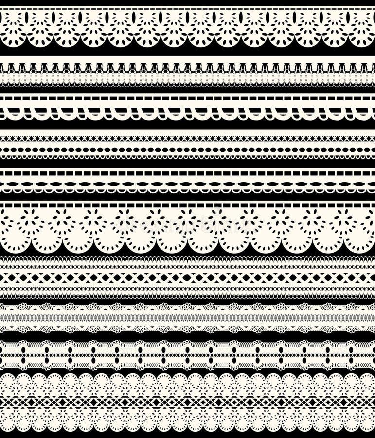 Ensemble de frontières sans couture de dentelle Dix rubans à jour blancs d'isolement sur le fond noir illustration libre de droits