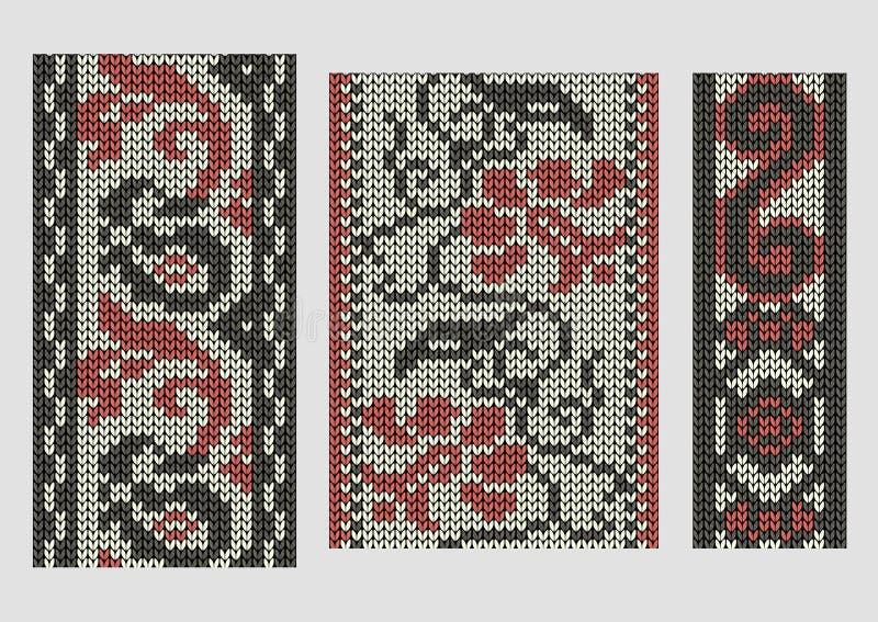 Ensemble de frontières tricotées sans couture, frontières de vintage illustration stock