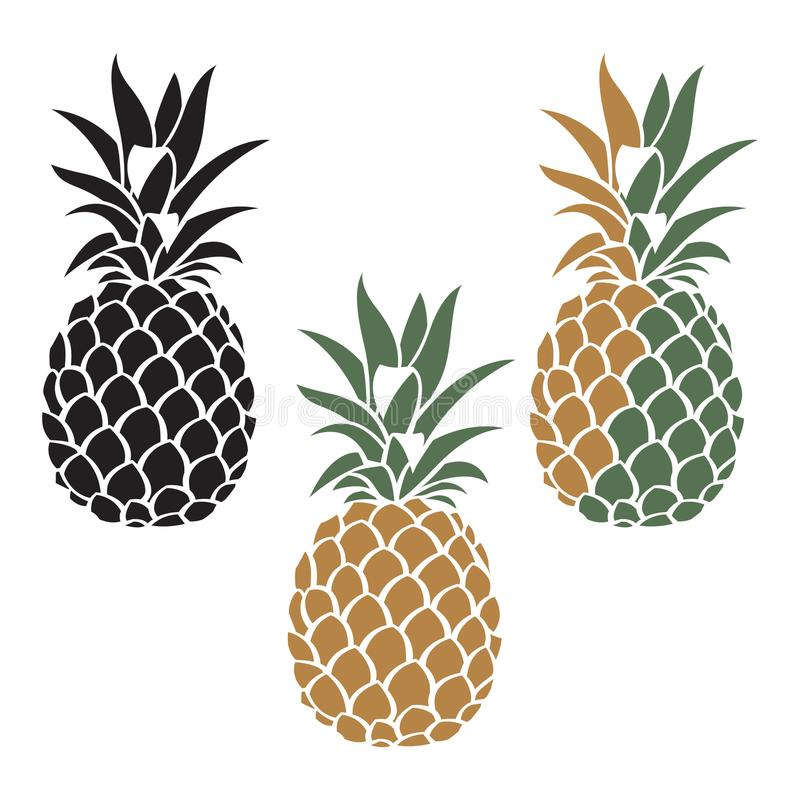 Ensemble de fruit d'ananas illustration de vecteur