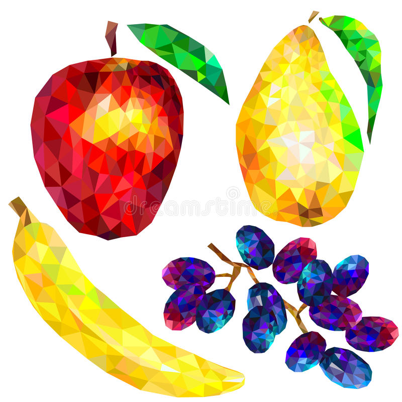 Ensemble de fruit de triangles abstraites sur un fond blanc illustration stock