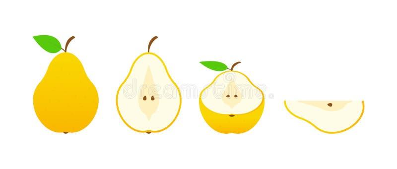 Ensemble de fruits Collection de fruit d'été Poire de fruits Végétarien et nourriture d'écologie Illustration de vecteur illustration libre de droits