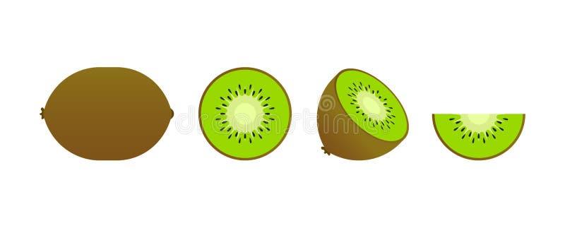 Ensemble de fruits Collection de fruit d'été Porte des fruits le kiwi Végétarien et nourriture d'écologie Illustration de vecteur illustration de vecteur
