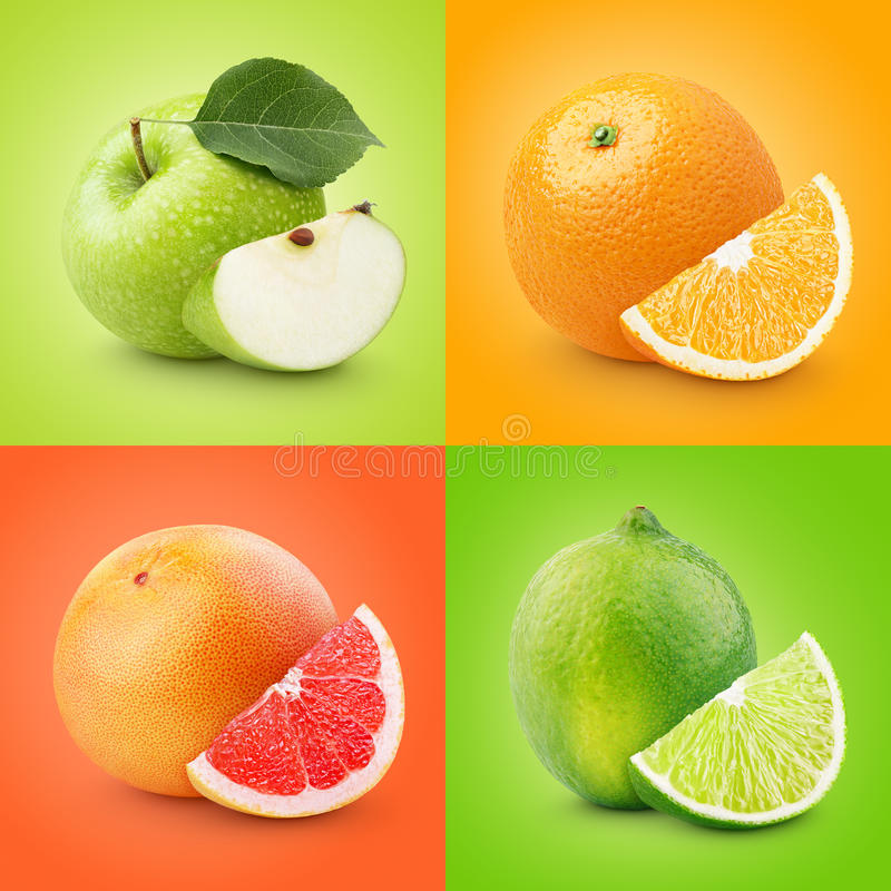 Ensemble de fruits colorés - pomme, orange, pamplemousse, chaux photos stock