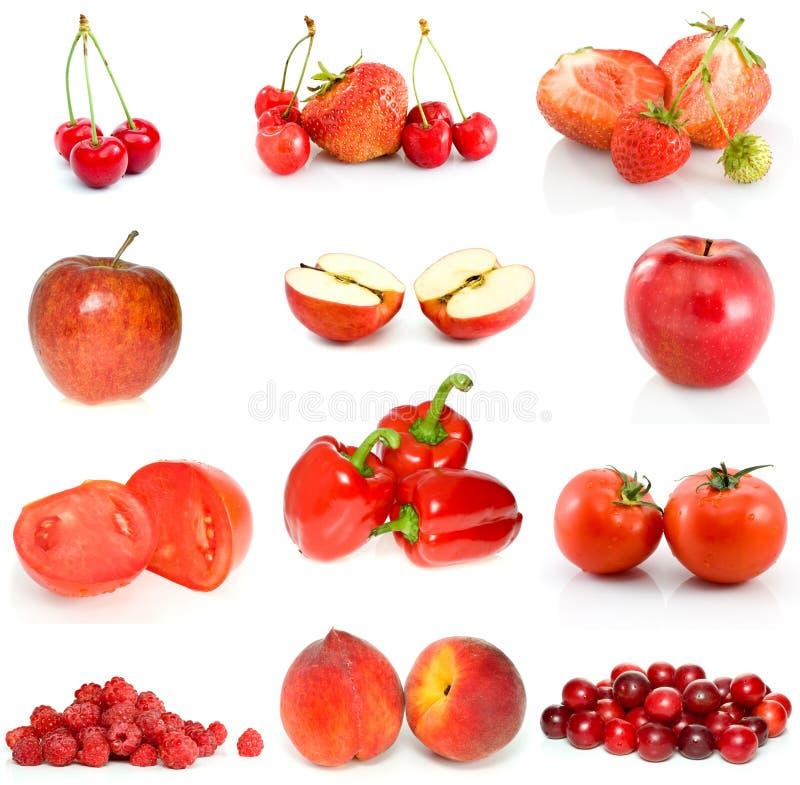 Ensemble de fruits, de baies et de légumes rouges images libres de droits