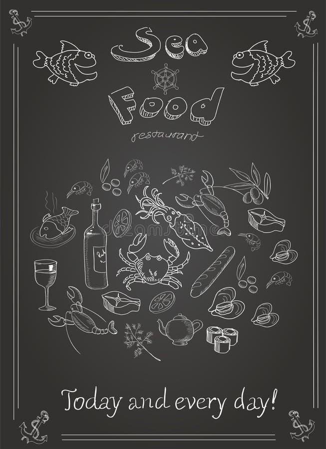 Ensemble de fruits de mer tirés par la main sur le tableau noir illustration stock