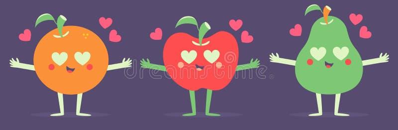 Ensemble de fruits de vecteur dans l'amour illustration de vecteur