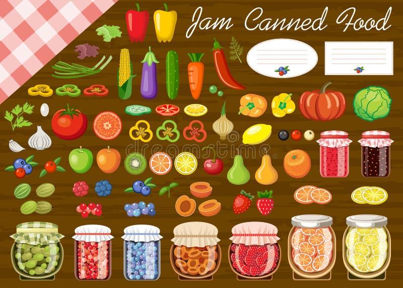 Ensemble de fruits et légumes pour la confiture et la nourriture en boîte illustration libre de droits