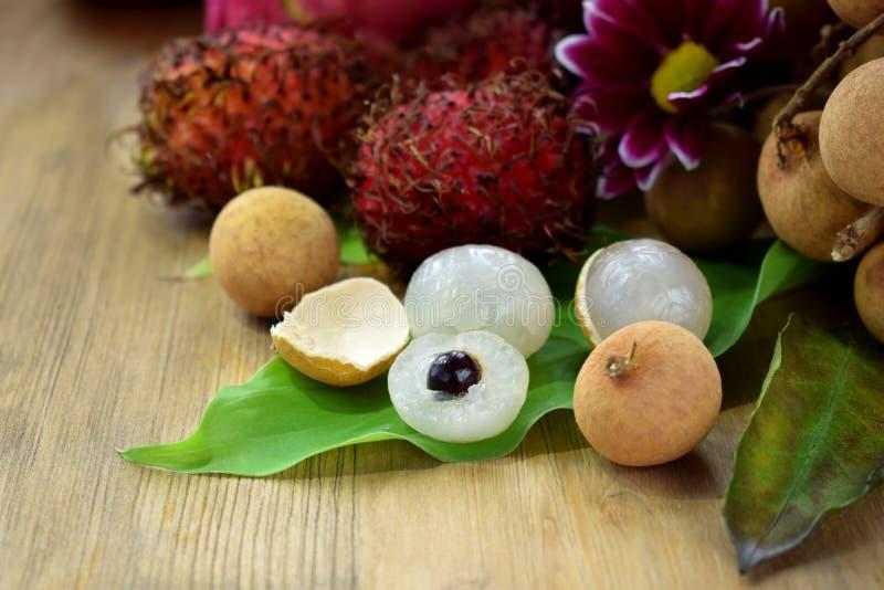 Ensemble de fruits tropicaux asiatiques photos stock