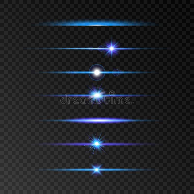 Ensemble de fusée de lentille Ligne rougeoyante bleue et violette réglée sur le fond transparent Brillez les poutres Éclair avec  illustration stock