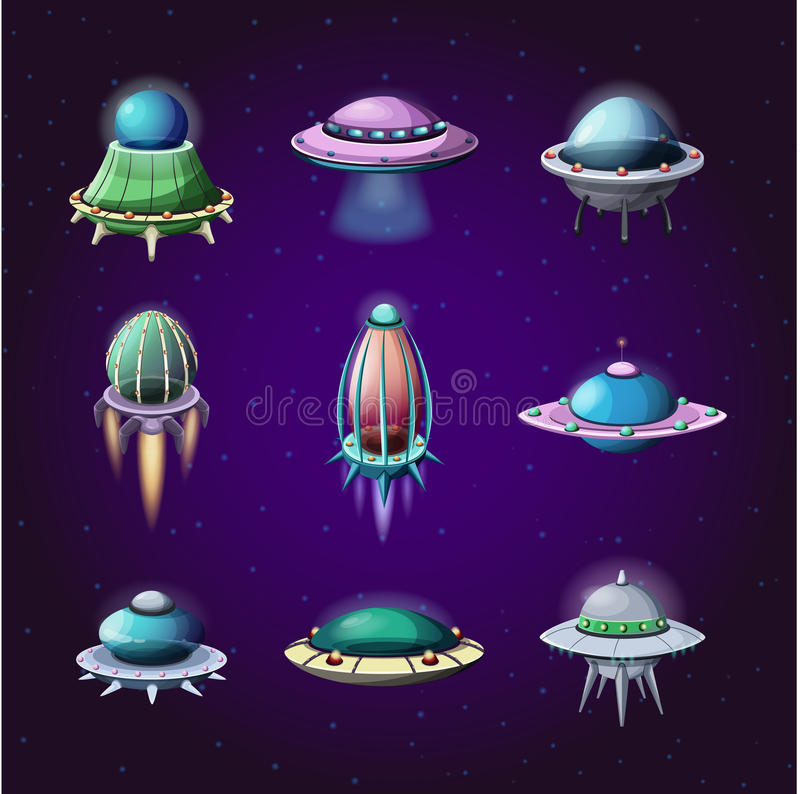 Ensemble de fusées de bande dessinée et de vaisseaux spatiaux étrangers illustration stock