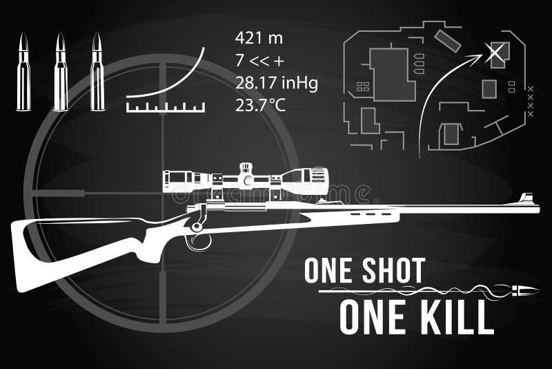Ensemble de fusils de tireur isolé d'armes à feu, carte tactique illustration libre de droits