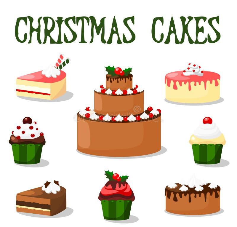 Ensemble de gâteau et de petit gâteau de Noël, icônes, illustrations illustration de vecteur