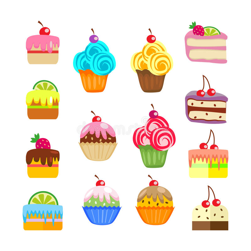 Ensemble de gâteaux et de pâtisseries Desserts doux Vecteur, illustration d'isolement sur le fond blanc EPS10 illustration stock
