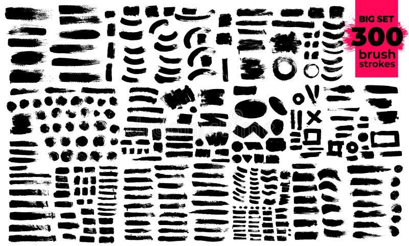 Ensemble de géant de courses noires de brosse Peinture, encre, brosses, lignes, grunge Texte de courses Éléments artistiques sale illustration stock