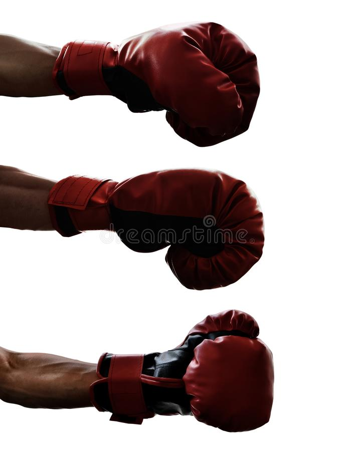 Ensemble de gant de boxe d'isolement sur le fond blanc image stock