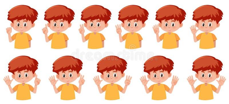 Ensemble de garçon avec le geste de nombre de main illustration libre de droits