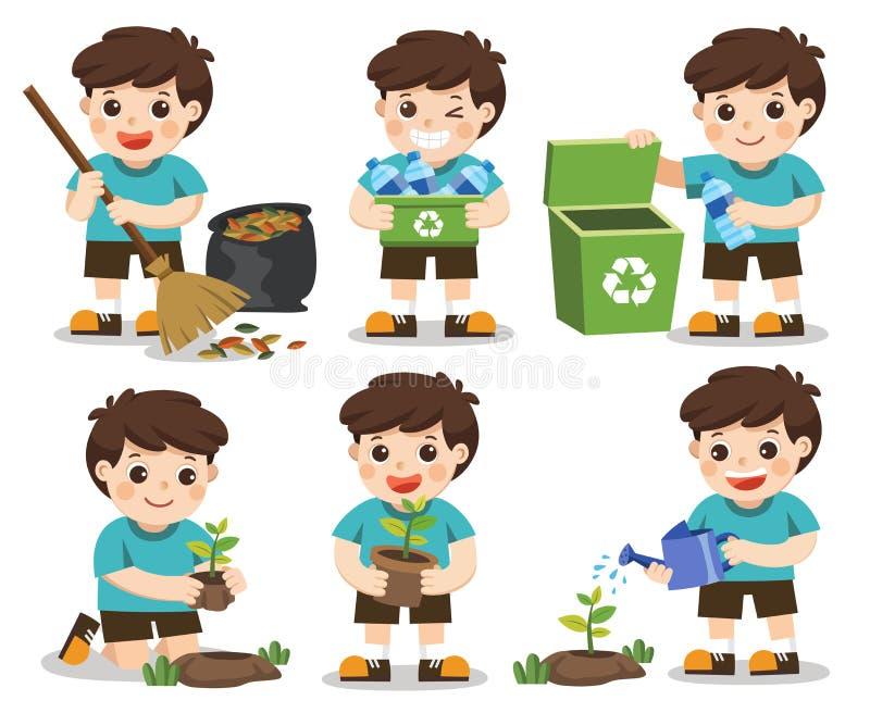 Ensemble de garçon mignon d'A Sauf la terre Recyclage des déchets illustration libre de droits