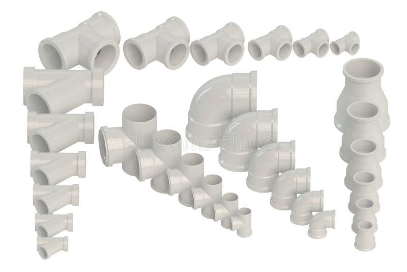Ensemble de garnitures en plastique pour la canalisation de l'eau illustration libre de droits