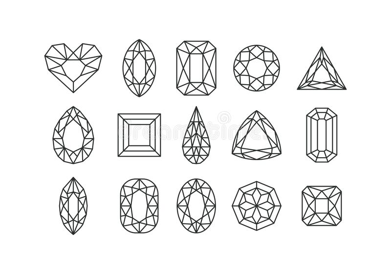 Ensemble de gemmes et bijoux vecteur de schéma d'isolement sur le fond blanc Diamants linéaires avec différentes coupes illustration de vecteur