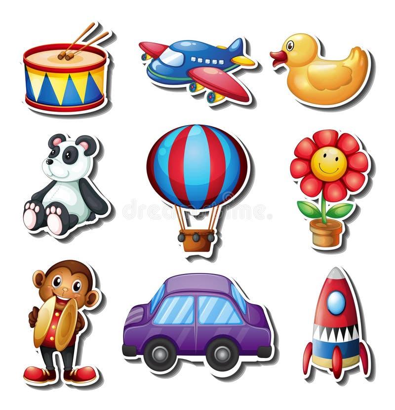Ensemble de genre différent de jouets illustration stock