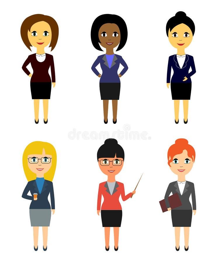 Ensemble de gens d'affaires dans le style plat d'isolement sur le fond blanc Femmes illustration de vecteur