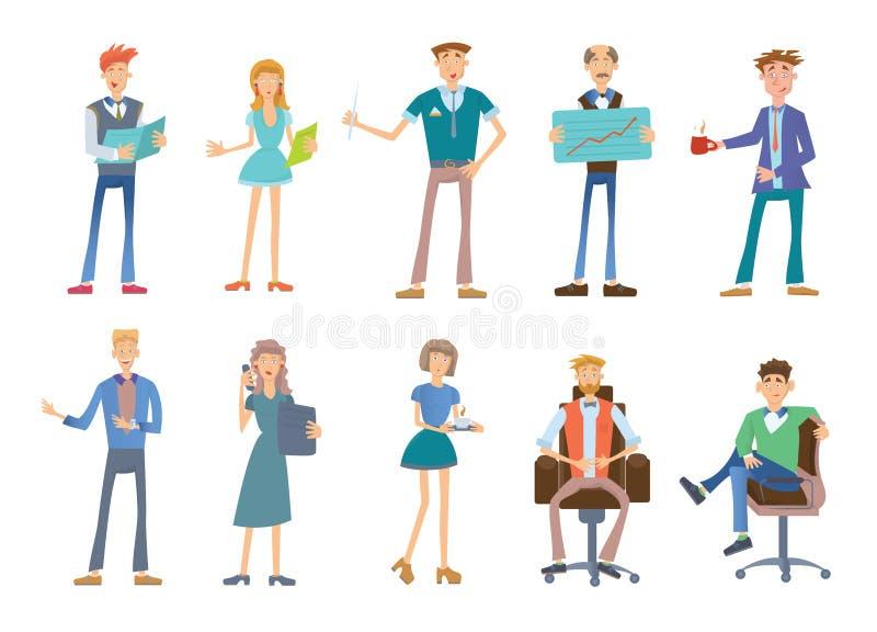 Ensemble de gens d'affaires dans une tenue de détente Personnel de société, illustration de vecteur sur le blanc illustration stock