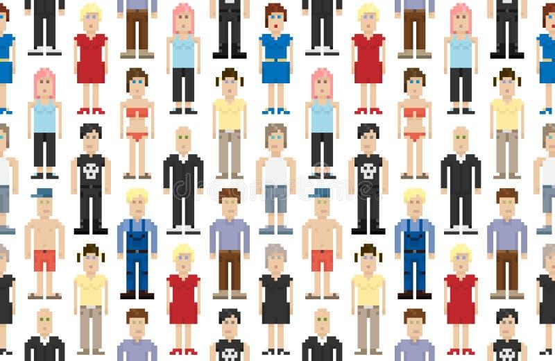 Ensemble de gens de Pixel illustration de vecteur