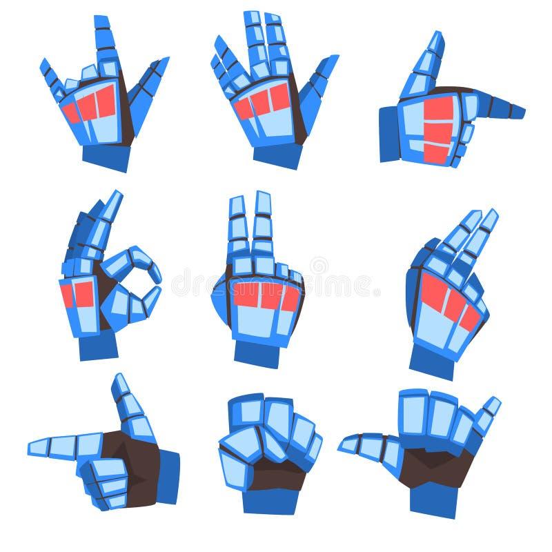 Ensemble de gestes d'apparence de main de robot divers, paume mécanique faisant des gestes, illustration de vecteur d'intelligenc illustration de vecteur