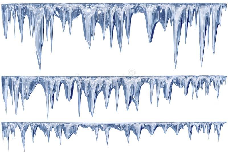Ensemble de glaçons accrochants de dégel d'une nuance bleue illustration libre de droits