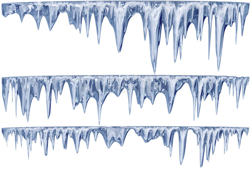 Ensemble de glaçons accrochants de dégel d'une nuance bleue photos stock