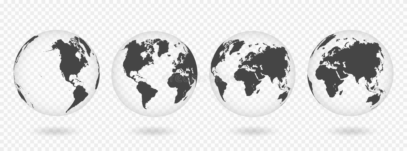 Ensemble de globes transparents de la terre Carte réaliste du monde dans la forme de globe avec la texture transparente et l'ombr illustration libre de droits