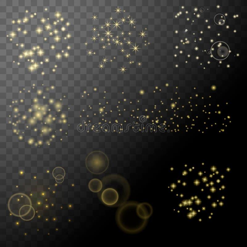 Ensemble de glotter d'étoile d'étincelle Éléments transparents abstraits de vecteur blanc illustration stock