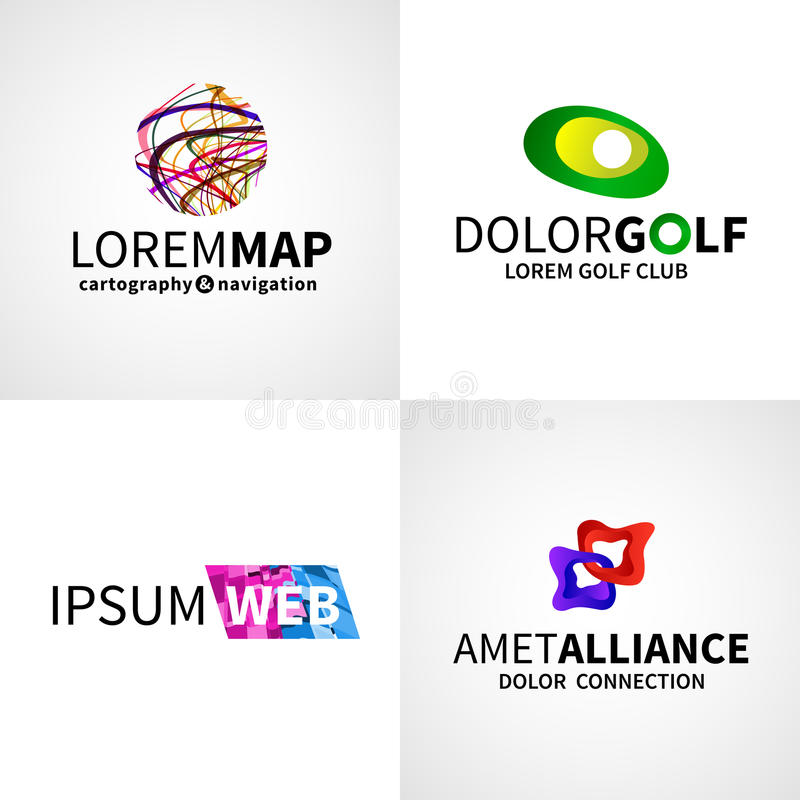 Ensemble de golf abstrait coloré moderne d'alliance de Web illustration stock