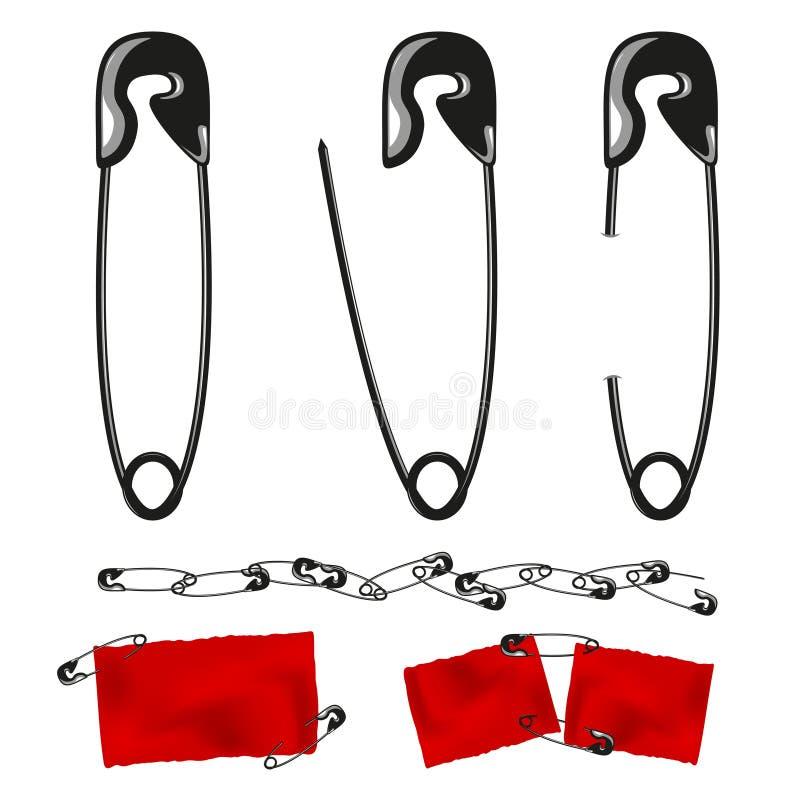Ensemble de goupilles de sécurité Papier rouge fixé par des goupilles Vecteur illustration de vecteur