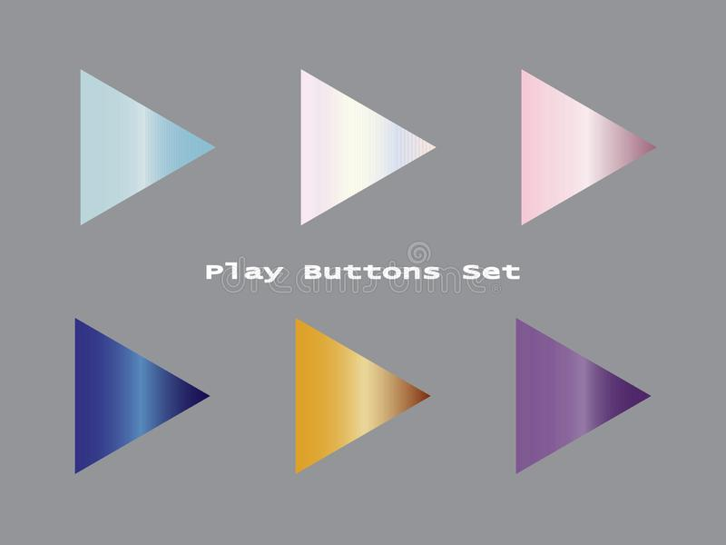 Ensemble de gradient de boutons de jeu illustration stock
