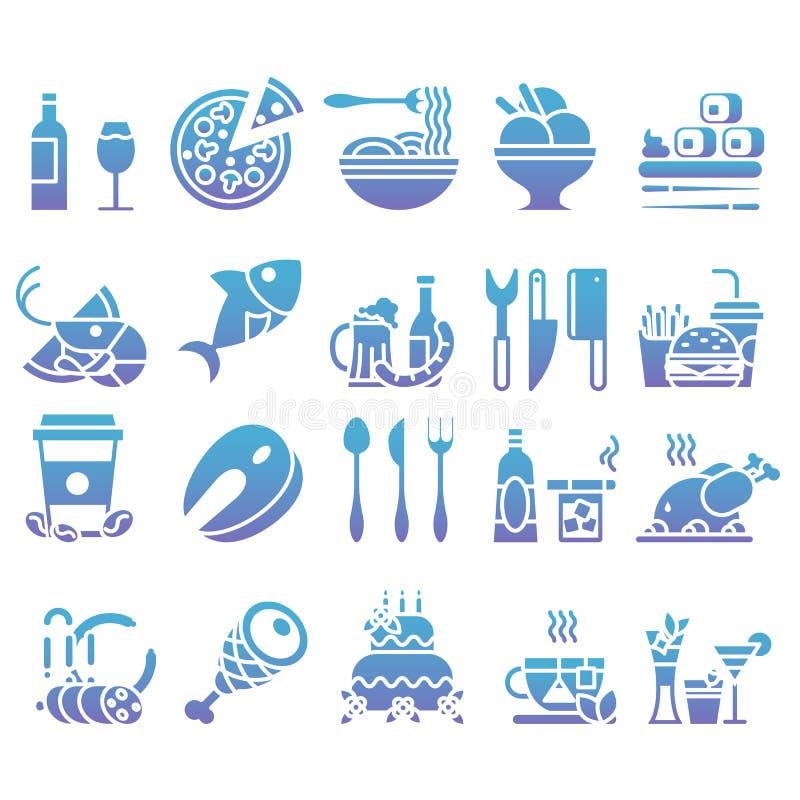Ensemble de gradient de vecteur d'icônes et d'éléments plats au sujet de nourriture et boisson pour le menu de restaurant de Web  illustration de vecteur