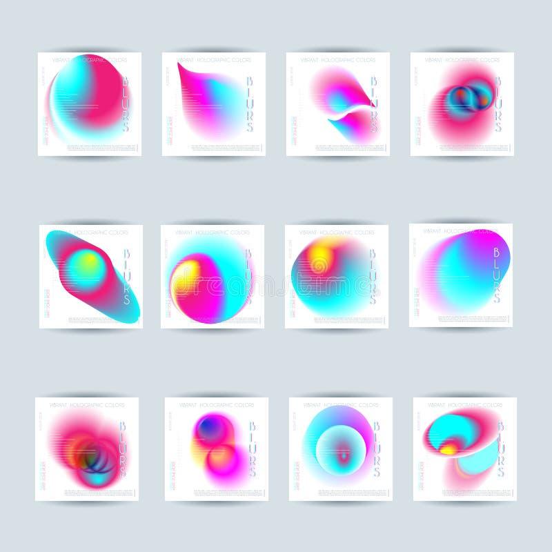 Ensemble de gradient vibrant de tache floue colorée abstraite illustration libre de droits