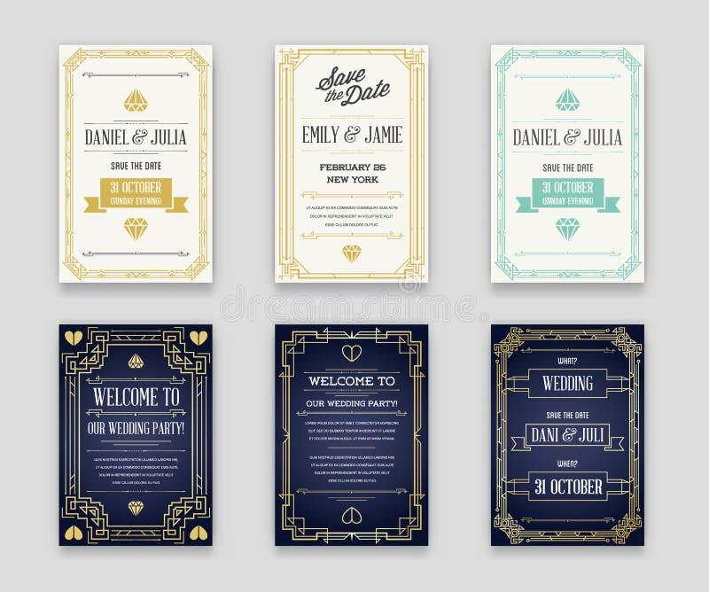 Ensemble de grande invitation de style de qualité en Art Deco ou OEB de Nouveau illustration stock