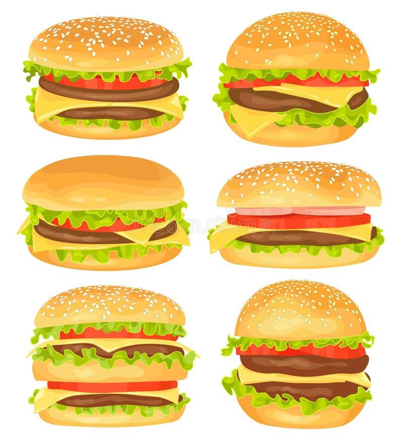 Ensemble de grands hamburgers sur le fond blanc illustration de vecteur